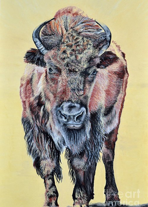 Buffalo Greeting Card featuring the pastel Stand Strong by Ann Marie Chaffin