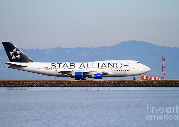 Airplane Greeting Card featuring the photograph Star Alliance Airlines Jet Airplane At San Francisco International Airport Sfo . 7d12199 by Wingsdomain Art and Photography