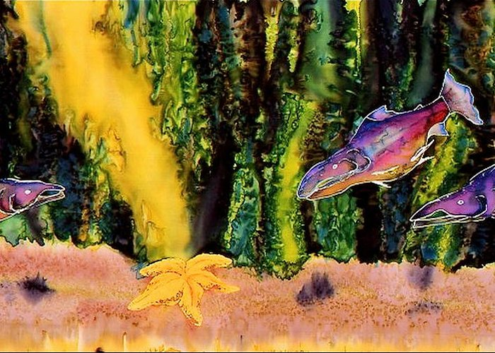 Fish Greeting Card featuring the tapestry - textile Star Fish by Carolyn Doe