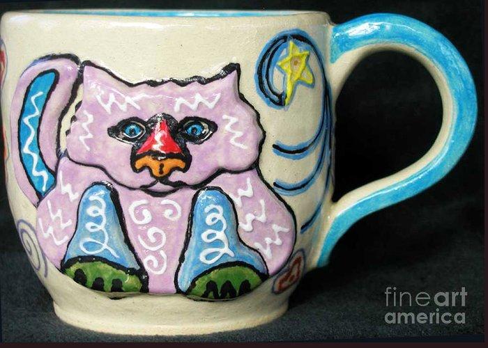 Cat Greeting Card featuring the ceramic art Star Kitty Mug by Joyce Jackson