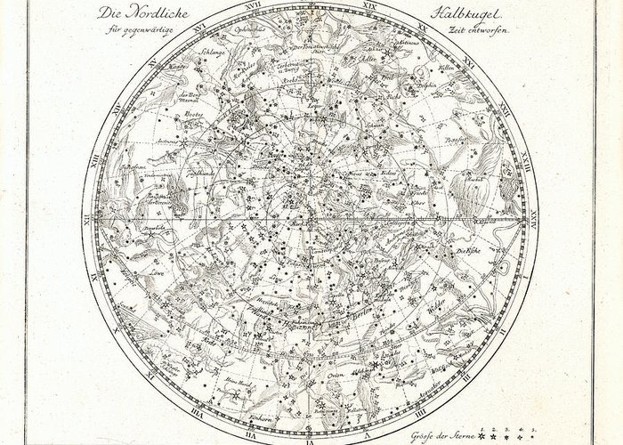 Celestial Map Greeting Card featuring the photograph Star Map, 1805 by Detlev Van Ravenswaay