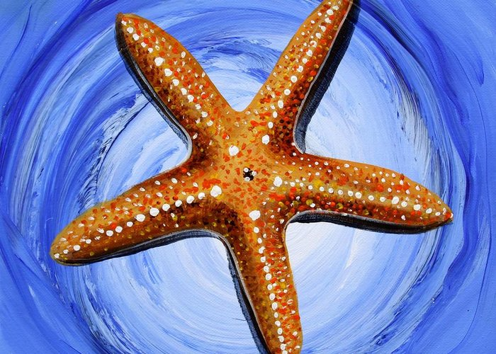 Starfish Greeting Card featuring the painting Star Of Mary by J Vincent Scarpace