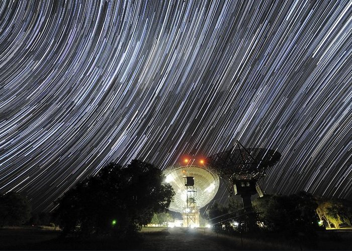 Star Greeting Card featuring the photograph Star Trails Over Parkes Observatory by Alex Cherney, Terrastro.com