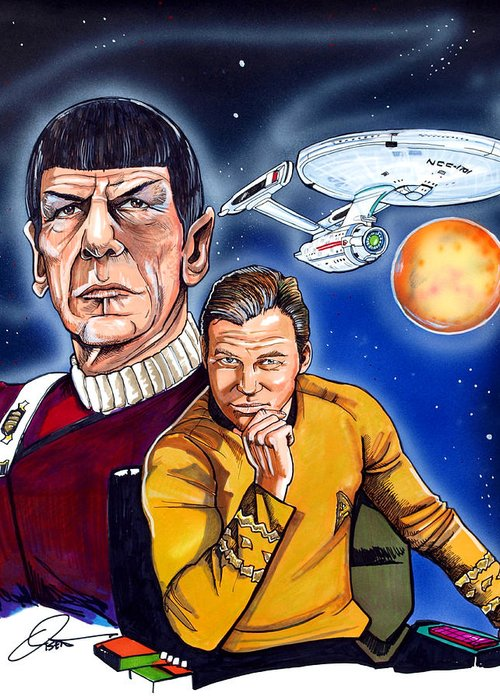 Captain Kirk Greeting Card featuring the drawing Star Trek by Dave Olsen