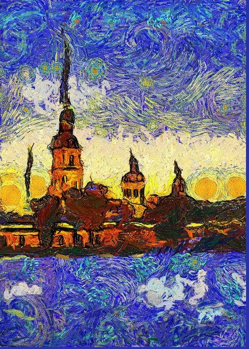 Saint Greeting Card featuring the digital art Starred Saint Petersburg by Yury Malkov