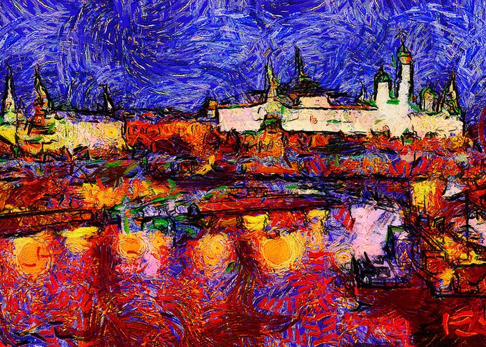Moscow Greeting Card featuring the digital art Starry Moscow by Yury Malkov