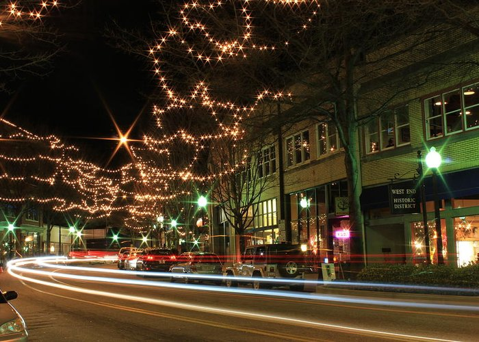 Greenville Greeting Card featuring the photograph Starry Nights - Main Street Nights by Craig Johnson
