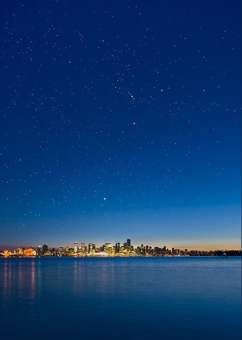 Vancouver Greeting Card featuring the photograph Stars Over Vancouver, Canada by David Nunuk