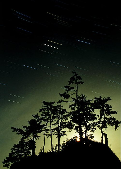 Star Trails Greeting Card featuring the photograph Startrails And Moonlit Fog, Canada by David Nunuk