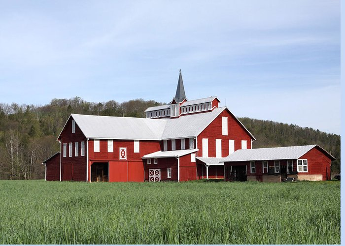 Copy Space Greeting Card featuring the photograph Stately Red Barn With Elongated Clerestory Cupola by John Stephens