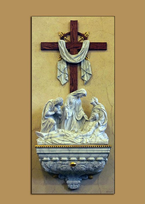 Statue Greeting Card featuring the photograph Station Of The Cross 13 by Thomas Woolworth