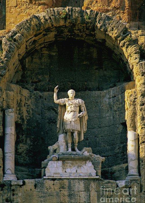 Europe Greeting Card featuring the photograph Statue De L'empereur Auguste Dans Le Theatre D'orange. by Bernard Jaubert