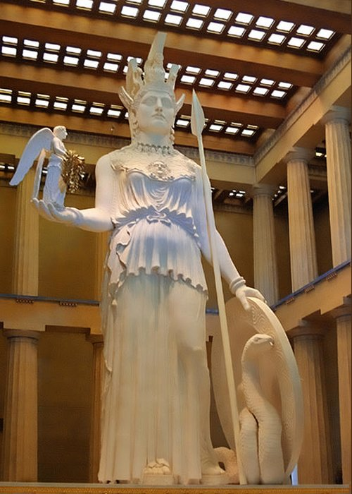 Greek Greeting Card featuring the photograph Statue Of Athena And Nike by Linda Phelps