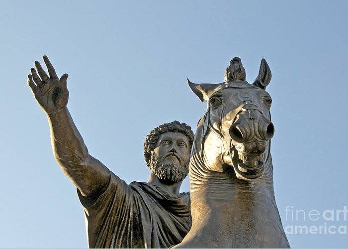 Views Greeting Card featuring the photograph Statue Of Marcus Aurelius On Capitoline Hill Rome Lazio Italy by Bernard Jaubert