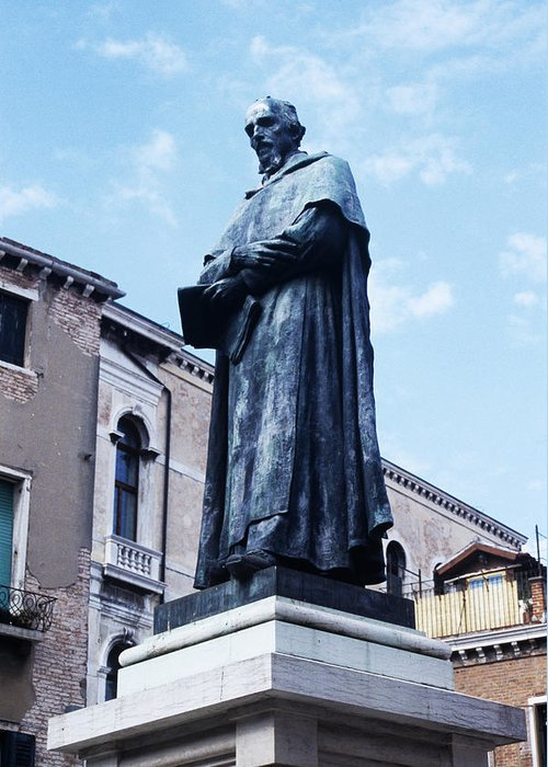 Paolo Sarpi Greeting Card featuring the photograph Statue Of Paolo Sarpi, Venetian Scientist by Sheila Terry