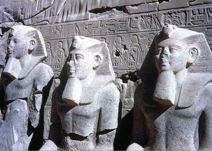 19th Dynasty Greeting Card featuring the photograph Statues Of Ramses II by Granger