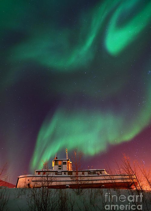 Aurora Borealis Greeting Card featuring the photograph Steamboat Under Northern Lights by Priska Wettstein