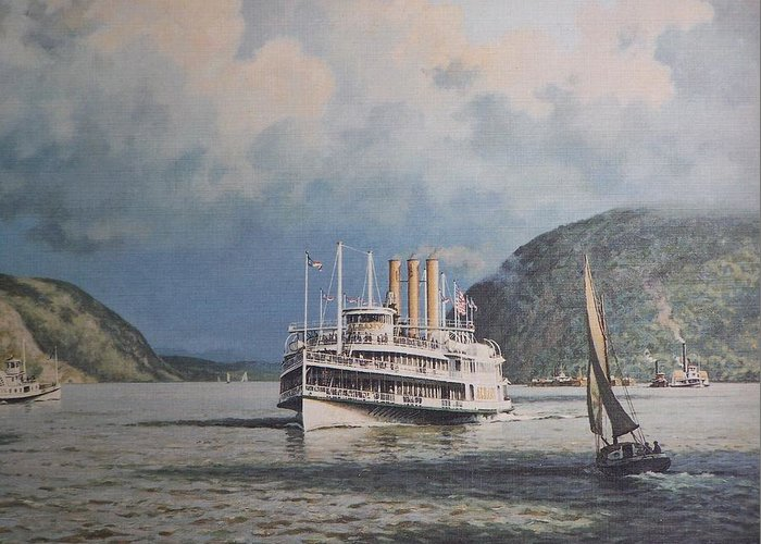 William G Muller Greeting Card featuring the photograph Steamboats On Newburgh Bay William G Muller by Jake Hartz
