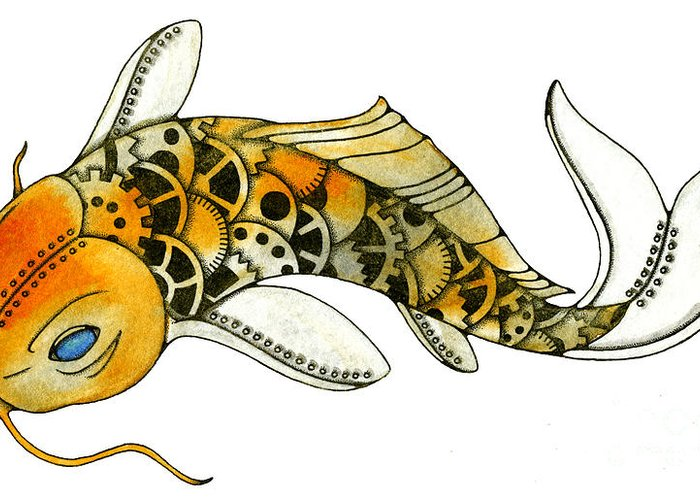 Steampunk Greeting Card featuring the painting Steampunk Koi by Nora Blansett