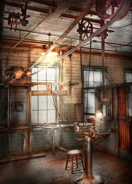 Steampunk Greeting Card featuring the photograph Steampunk - Machinist - The Grinding Station by Mike Savad