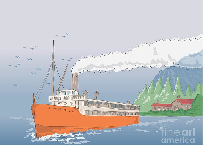 Steamboat Greeting Card featuring the digital art Steamship Steamboat Vintage by Aloysius Patrimonio