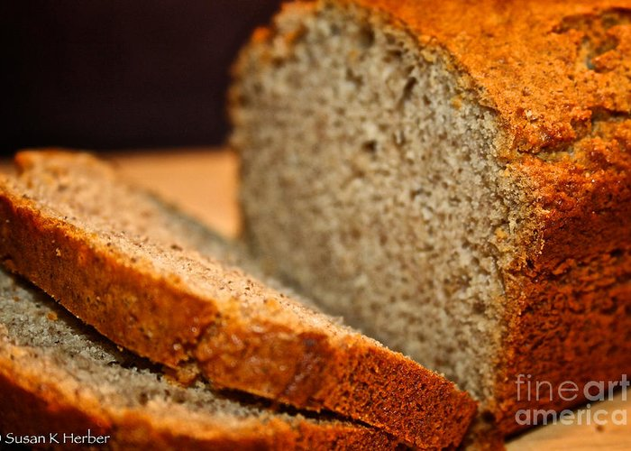 Food Greeting Card featuring the photograph Steamy Fresh Banana Bread by Susan Herber
