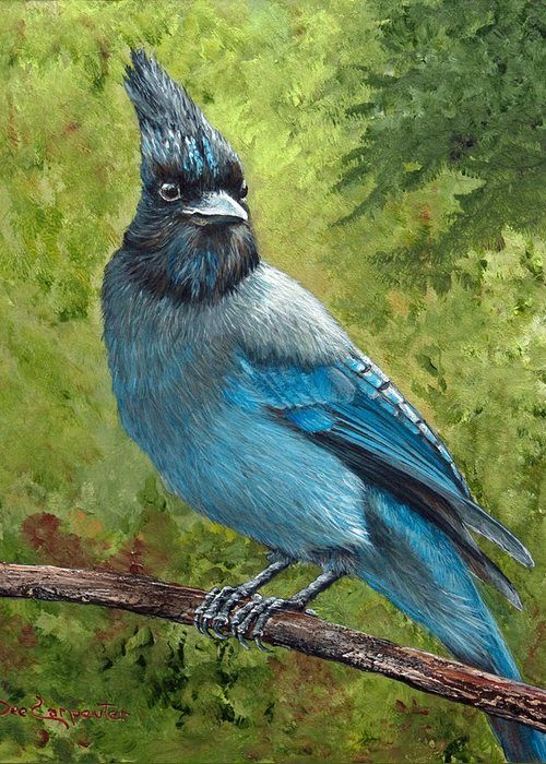 Stellar Jay Greeting Card featuring the painting Stellar Jay by Dee Carpenter