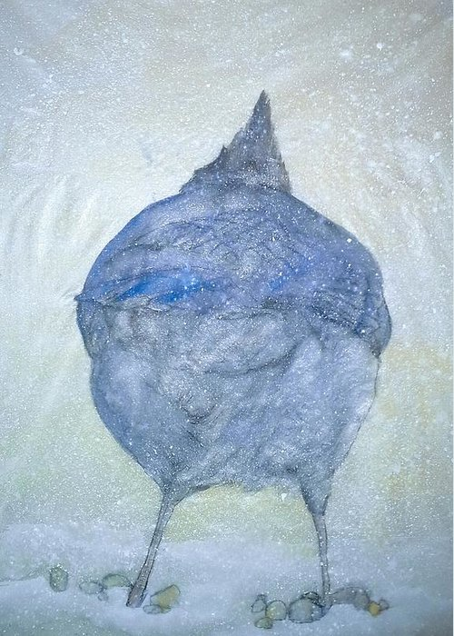 Painting Greeting Card featuring the painting Stellar Jay From Back by Debbi Saccomanno Chan