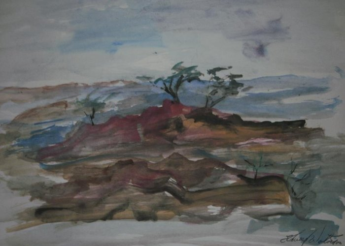 Point Greeting Card featuring the painting Stewarts Point by Edward Wolverton