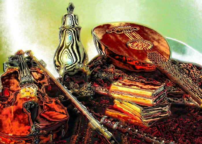 Greeting Card featuring the digital art Still Life. Musical Instruments. by Tautvydas Davainis