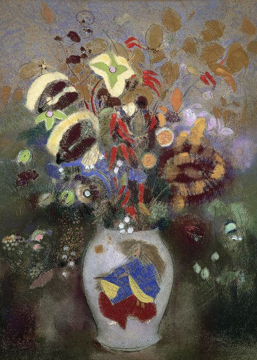 Oriental; Symbolist; Vase Au Guerrier Japonais Greeting Card featuring the painting Still Life Of A Vase Of Flowers by Odilon Redon