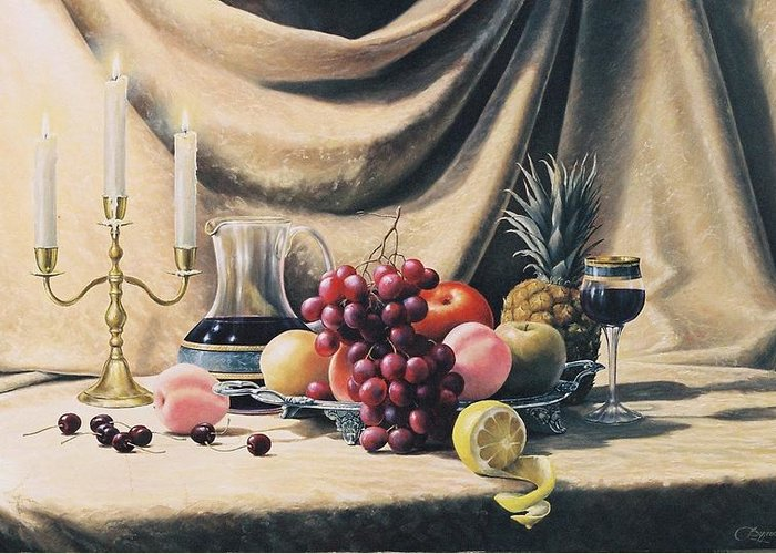 Still Life Greeting Card featuring the painting Still Life On A Gold by Oleg Bylgakov