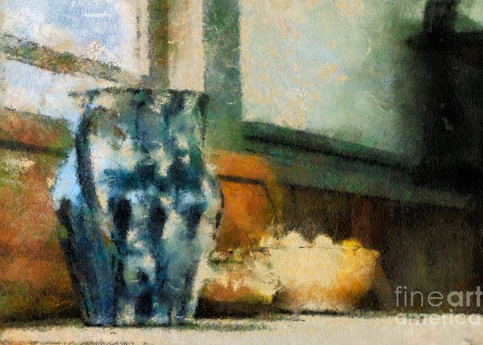 Jug Greeting Card featuring the photograph Still Life With Blue Jug by Lois Bryan