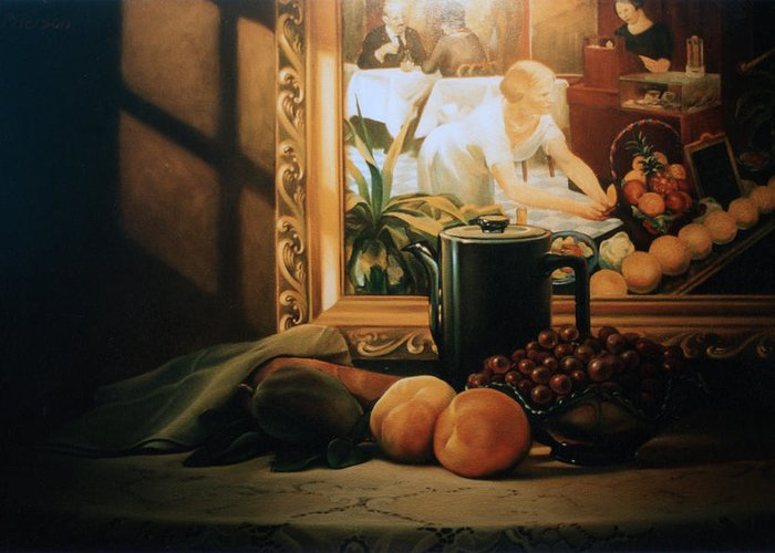 Peaches Greeting Card featuring the painting Still Life With Hopper by Patrick Anthony Pierson