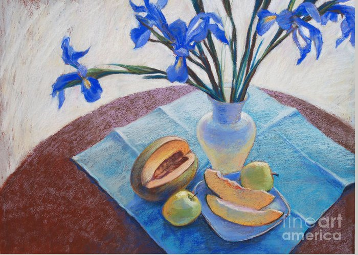 Irises Greeting Card featuring the drawing Still Life With Irises. by Ekaterina Gomol
