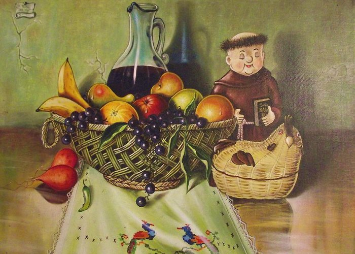 Santana Greeting Card featuring the painting Still Life With Moms Needle Work by Joe Santana