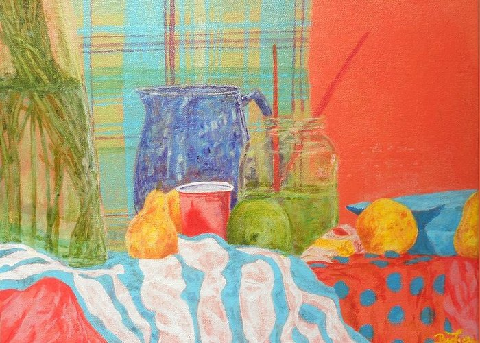 Acrylics Greeting Card featuring the painting Still Life With Pears by Ben Leary