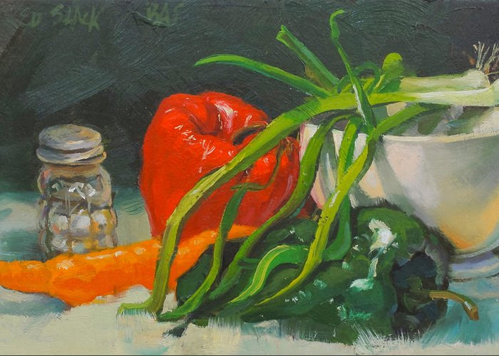 Salt Greeting Card featuring the painting Still life with peppers by Ed Slack