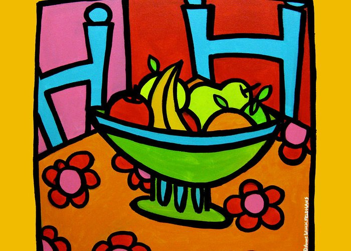 Still Life Greeting Card featuring the painting Still Life With Red And Pink by Anne Leuck