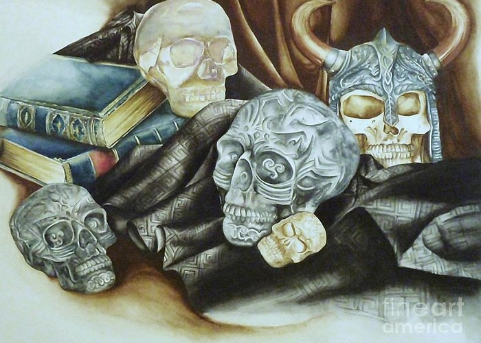 Skulls Greeting Card featuring the painting Still Life With Skulls by Elizabeth York