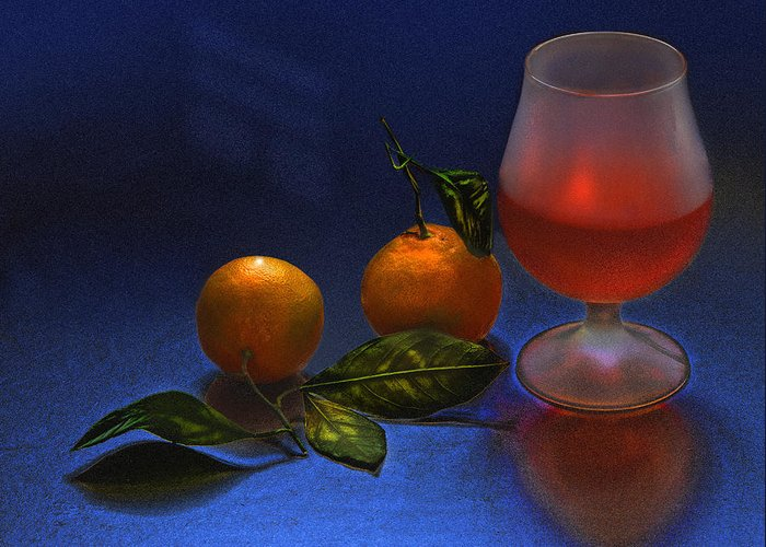 Still Life Greeting Card featuring the photograph Still Life With Tangerins by Vladimir Kholostykh