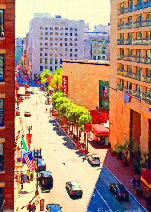 San Francisco Greeting Card featuring the photograph Stockton Street San Francisco . View Towards Union Square by Wingsdomain Art and Photography
