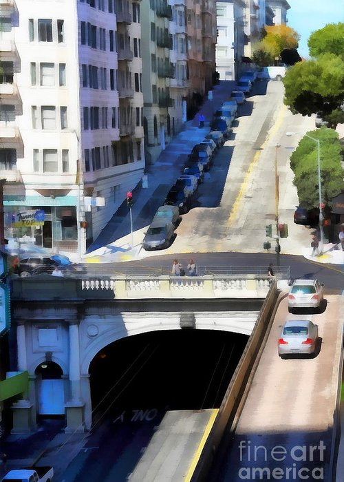 San Francisco Greeting Card featuring the photograph Stockton Street Tunnel In Hilly San Francisco . 7d7499 by Wingsdomain Art and Photography