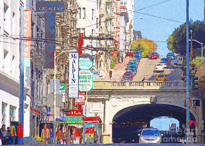 San Francisco Greeting Card featuring the photograph Stockton Street Tunnel In San Francisco . 7d7355 by Wingsdomain Art and Photography