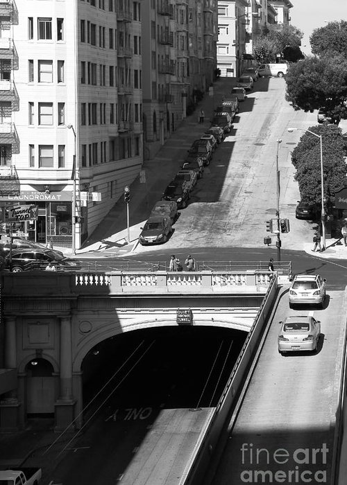 Black And White Greeting Card featuring the photograph Stockton Street Tunnel Midday Late Summer In San Francisco . Black And White Photograph 7d7499 by Wingsdomain Art and Photography
