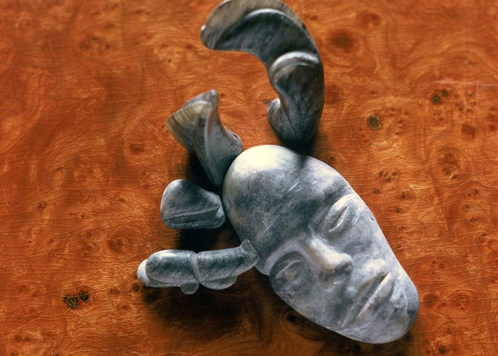 Face Greeting Card featuring the sculpture Stone Aged Spirit by Charles Dancik