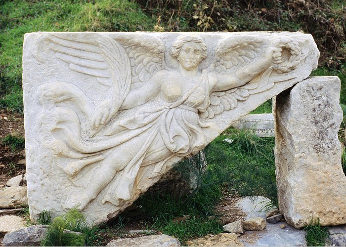 Stone Carving Greeting Card featuring the photograph Stone Carving Of Nike by Mark Greenberg