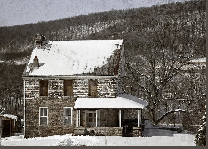 Farm Greeting Card featuring the photograph Stone Farmhouse In Snow by John Stephens