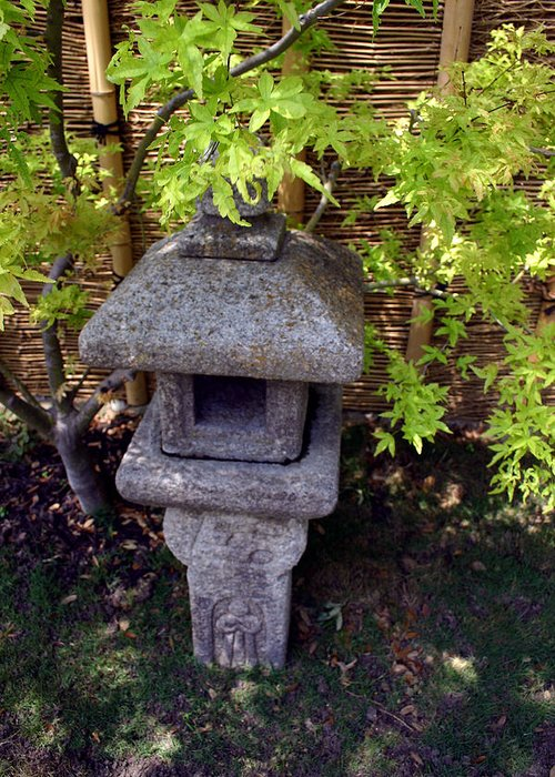 Oriental Greeting Card featuring the photograph Stone Lantern by Nina Fosdick