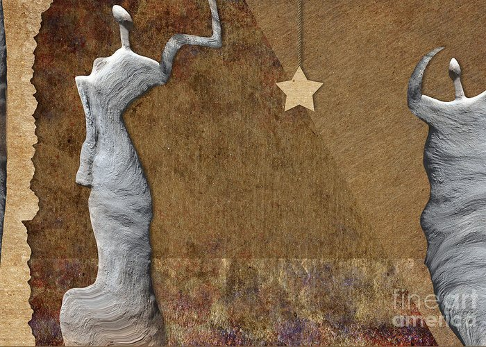 Woman Greeting Card featuring the digital art Stone Men 30-33 - Les Femmes by Variance Collections